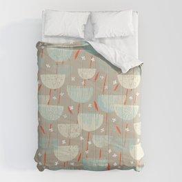 Botanical Block Print M+M Latte by Friztin Comforters