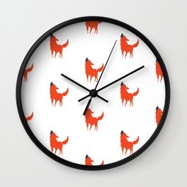 Red and White Dog pattern print Wall Clock