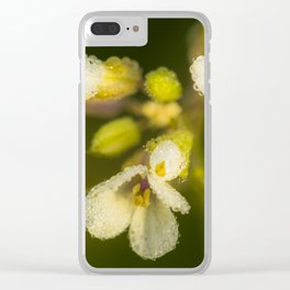 Dew on white Clear iPhone Case