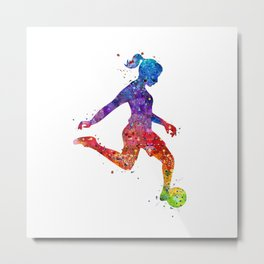 Girl Soccer Player Watercolor Art Colorful Sports Gift Metal Print