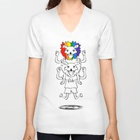 bisexual V-neck T-shirts featuring Gay Pride Lions by mailboxdisco