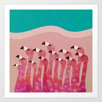 flamingos Art Prints featuring Flamingos by Claudia Voglhuber