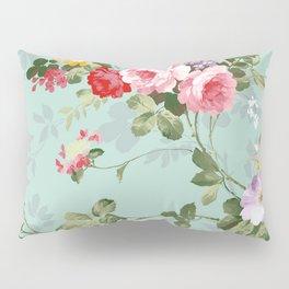 Elegant chic pink green roses flowers pattern Pillow Sham