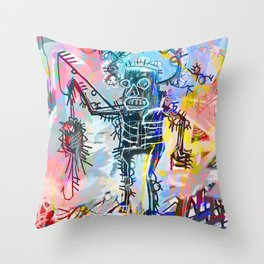 A digitally and roughly vectorised Jean Michel Basquiat Throw Pillow