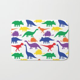 Dinosaurs - White Bath Mat