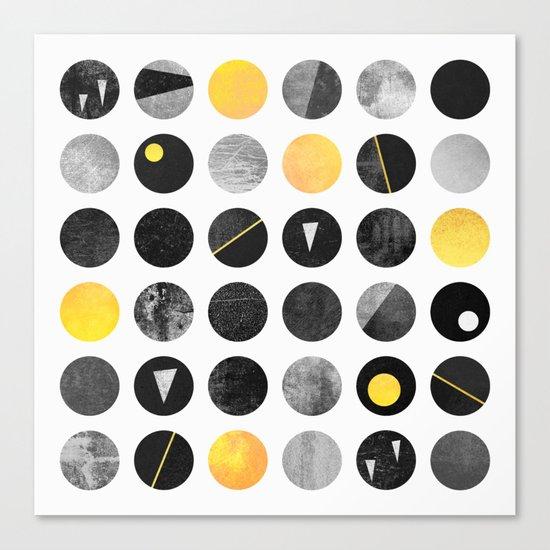 Dots / Yellow & Black Canvas Print