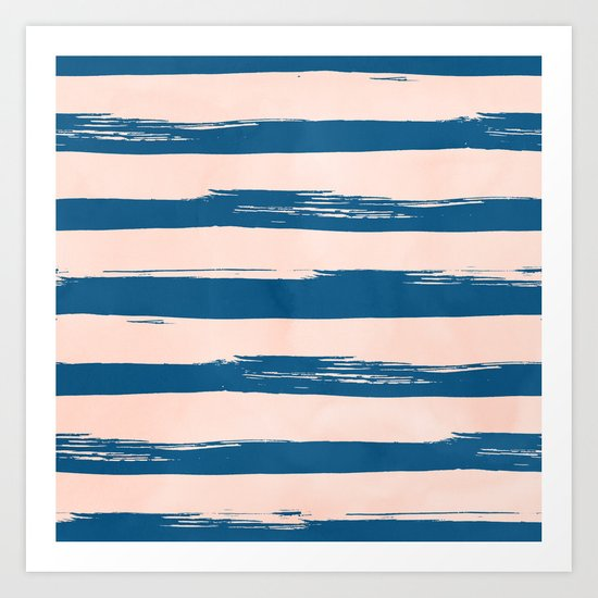 Trendy Stripes - Sweet Peach Coral on Saltwater Taffy Teal Art Print