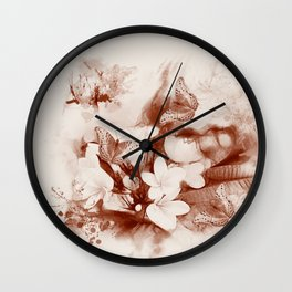Sepia toned tropical flowers and butterflies Wall Clock