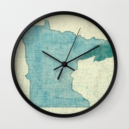 Minnesota State Map Blue Vintage Wall Clock