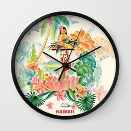 Vintage Hawaiian Travel Poster Wall Clock