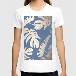 Simply Tropical Palm Leaves White Gold Sands on Aegean Blue T-shirt