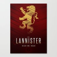 lannister Canvas Prints featuring House Lannister Sigil III (house words) by P3RF3KT
