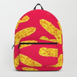 Funny Cute Hand Drawn Corn on the Cob on Neon PInk Backpack