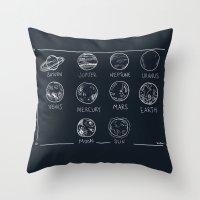 solar system Throw Pillows featuring solar system by sarah sawtelle