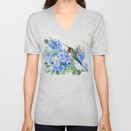 Hydrangea Flowers and Ruby Throat Hummingbird Unisex V-Neck