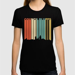 Retro 1970's Style Bluffs Iowa Skyline T-shirt