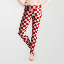 Small Checker Print - Red and White Leggings