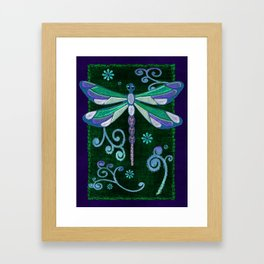 Dragonfly Mystic Jeweled Folk Art Framed Art Print