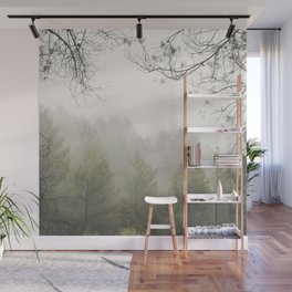Serenity. Foggy morning into the woods Wall Mural