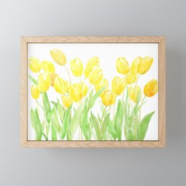 yellow poppies filed watercolor Framed Mini Art Print