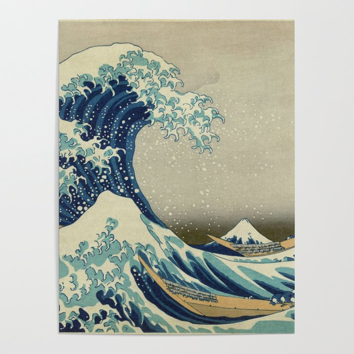94ad55d23336f The Classic Japanese Great Wave off Kanagawa Print by Hokusai Poster ...