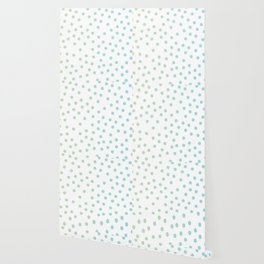 Simply Dots in Turquoise Green Blue Gradient on White Wallpaper