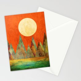 Many Moons Ago, Abstract Landscape Art Stationery Cards