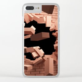3D Red Brick Wall Bursting Shattering Ultra HD Clear iPhone Case