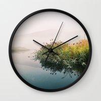 lake Wall Clocks featuring Lake by Bor Cvetko