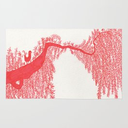The Songbird and the tree (Red Version) Rug