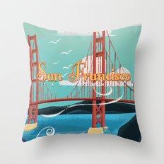 Vintage San Francisco Travel poster Throw Pillow