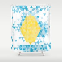 lemon Shower Curtains featuring Lemon by By Myyna