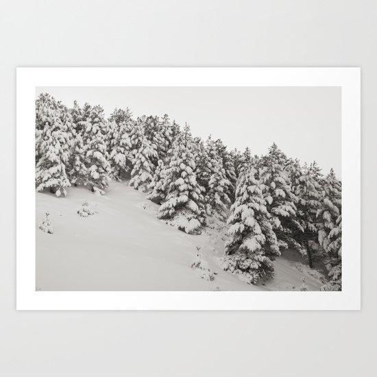 Snowy trees. Retro Art Print