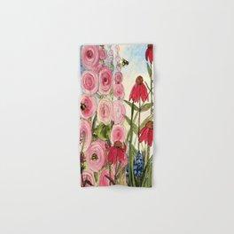 Cottage Garden Flower Whimsical Acrylic Painting Hand & Bath Towel