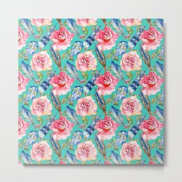 Hand painted blush pink blue turquoise watercolor boho roses floral Metal Print