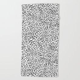 Nadia - Black and White, Animal Print, Dalmatian Spot, Spots, Dots, BW Beach Towel
