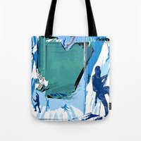 climbing Tote Bags featuring Ice Climbing by Robin Curtiss
