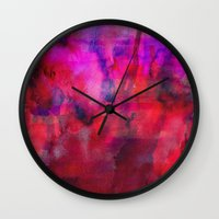 burgundy Wall Clocks featuring Burgundy by Georgiana Paraschiv