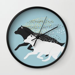 Wolves black and white Wall Clock