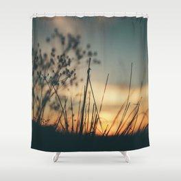 Vintage Wild Grass Sunset Shower Curtain