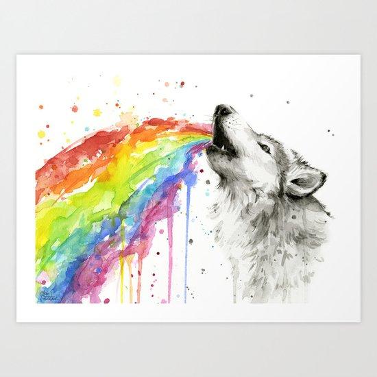 Wolf Rainbow Watercolor Animal Art Print