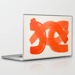 Mid Century Modern Abstract Painting Orange Watercolor Brush Strokes Laptop & iPad Skin