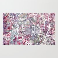 madrid Area & Throw Rugs featuring Madrid map by MapMapMaps.Watercolors