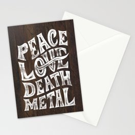 Peace Love Death Metal Stationery Cards