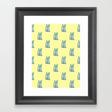 Crazy Cat (Blue/Yellow) Framed Art Print
