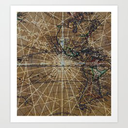 Vintage Old World Abstract Map Art Print