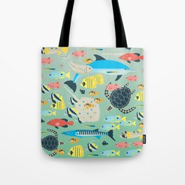 Underwater World with Coral Reef Animals Tote Bag