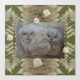 Eagle owls nest Canvas Print