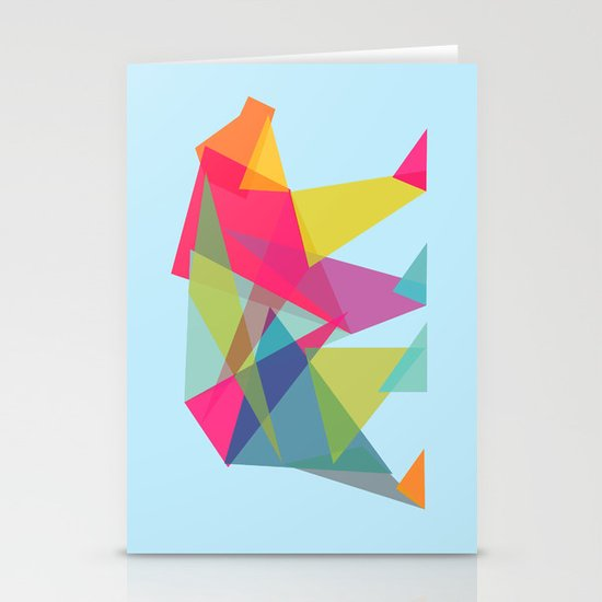 Fractal Bear - neon colorways Stationery Cards