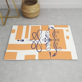 Orange squares dark blue Victorian flourish elements Rug